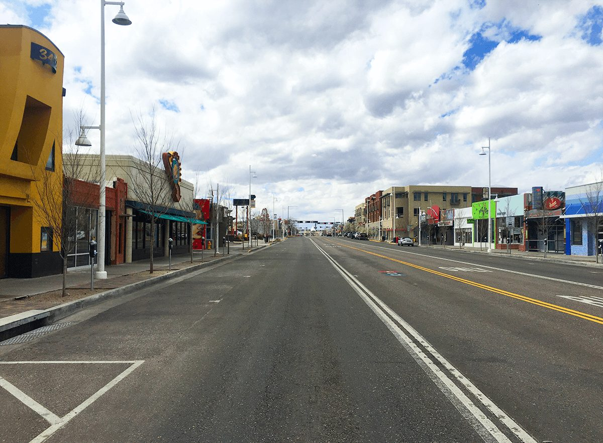 empty street in albuquerque